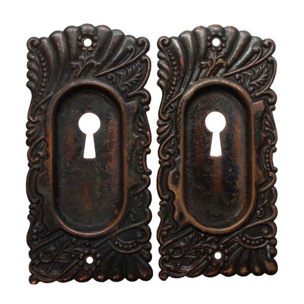 Pocket Door Hardware - Pair of Keyhole Roanoke Brass Pocket Door Plates