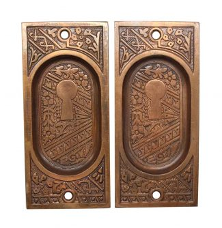 Pair Of Recessed Br Pocket Door Plates