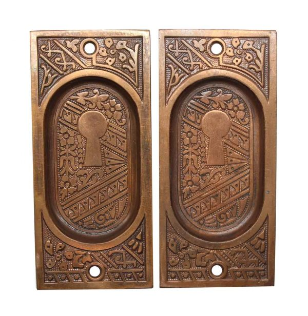 Pocket Door Hardware - Pair of Recessed Brass Pocket Door Plates