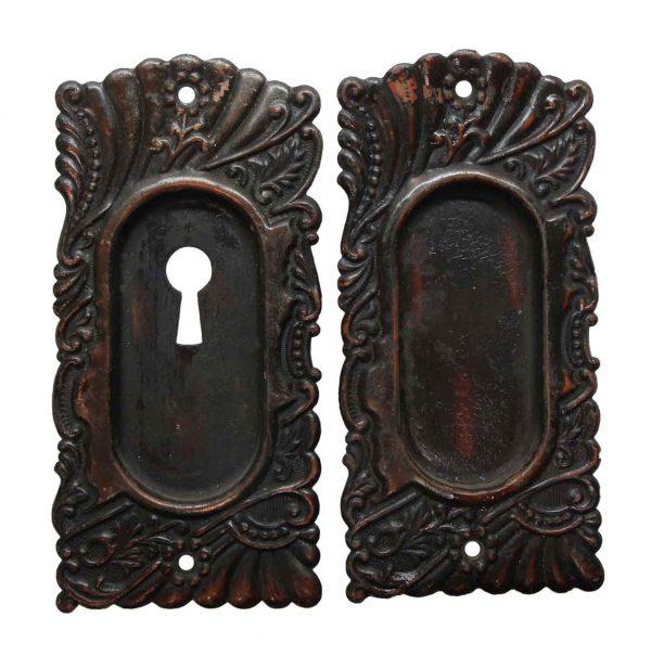 Pocket Door Hardware - Pair of Roanoke Brass Pocket Door Plates