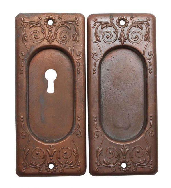 Pocket Door Hardware - Pair of Victorian Copper Plated Pocket Door Plates