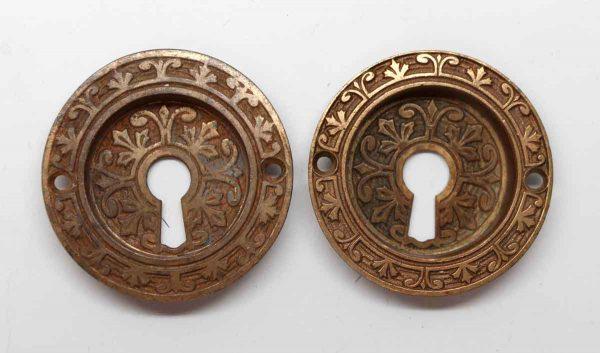 Pocket Door Hardware - Pair of Victorian Round Keyhole Pocket Door Pulls
