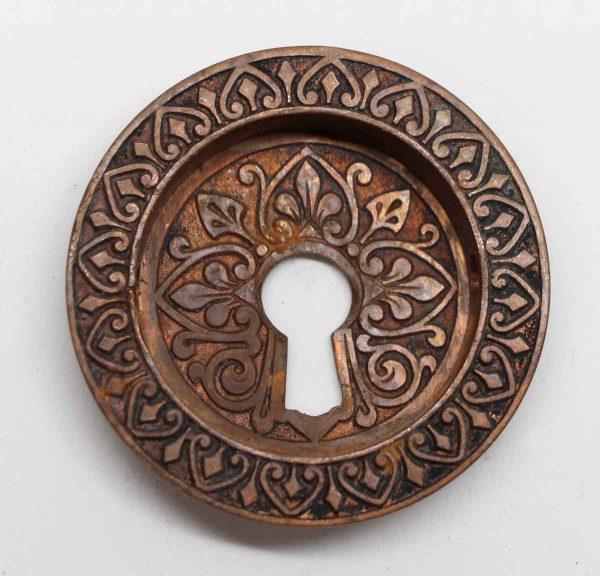 Pocket Door Hardware - Victorian Bronze Round Keyhole Pocket Door Pull