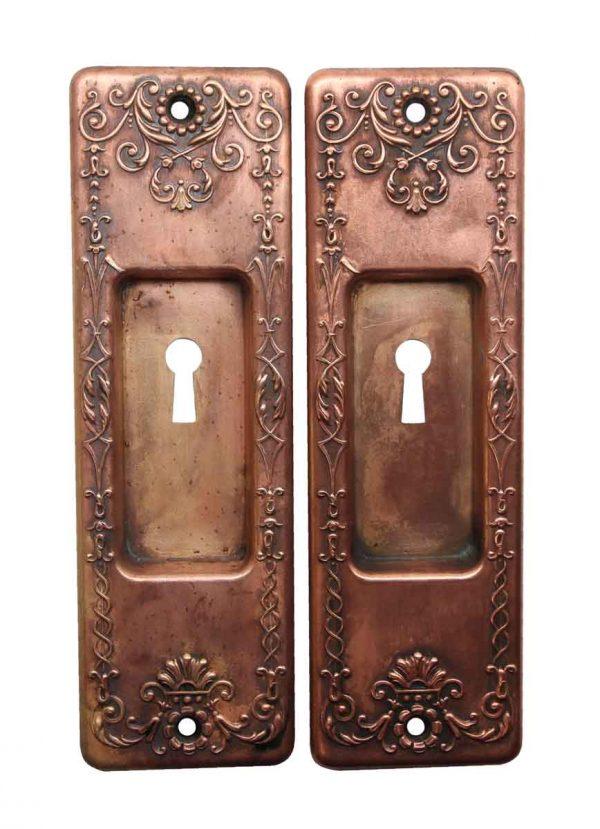 Pocket Door Hardware - Victorian Copper Plated Brass Keyhole Pocket Door Plates