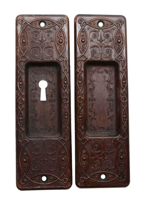 Pocket Door Hardware - Victorian Pair of Steel Pocket Door Plates