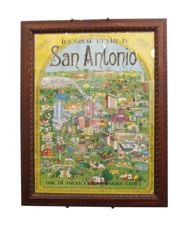 Posters - Framed 1970s San Antonio Map