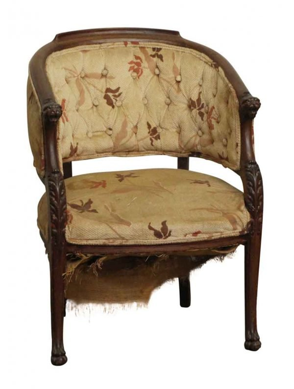 Seating - Worn Floral Chair with Carved Figural Wood Frame