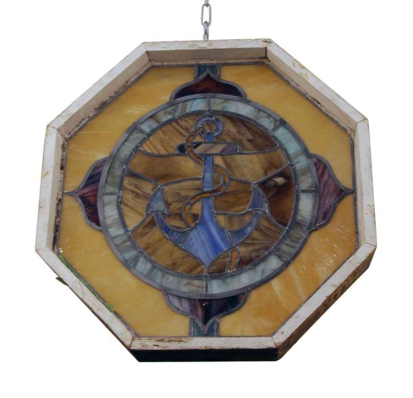 Stained Glass - Seafairer's Stained Glass Window with Anchor Motif