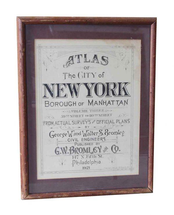 Vintage Signs - Framed Borough of Manhattan Atlas Title Page