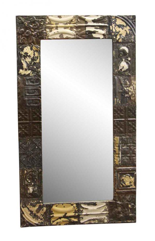 Antique Tin Mirrors - Brown & Tan Mixed Pattern Ceiling Tin Mirror