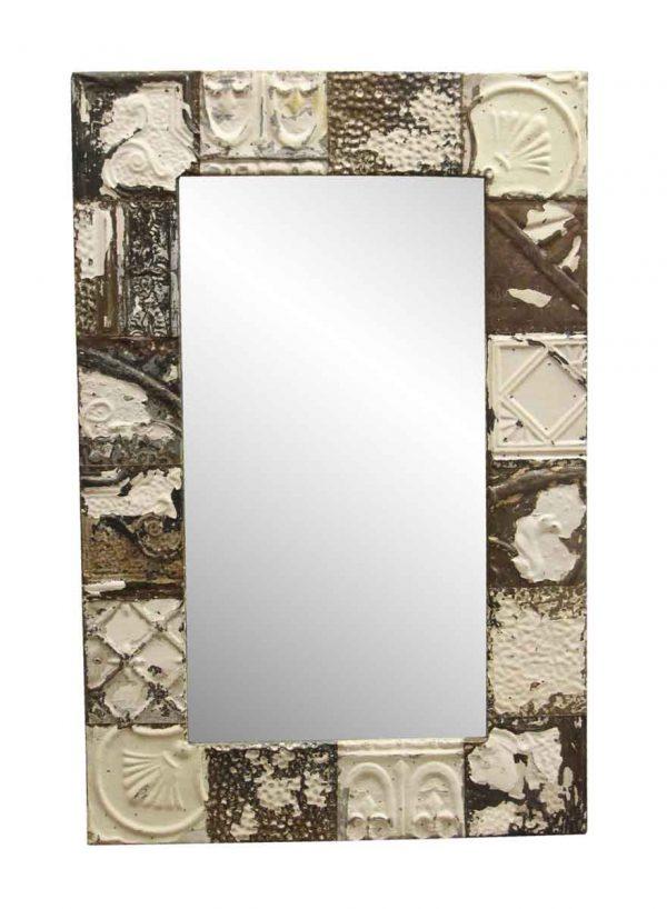 Antique Tin Mirrors - Neutral Tone Mixed Pattern Ceiling Tin Mirror