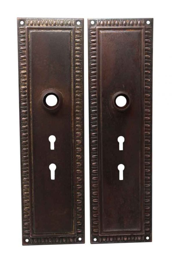 Back Plates - Pair of Steel Double Keyhole Egg & Dart Door Back Plates