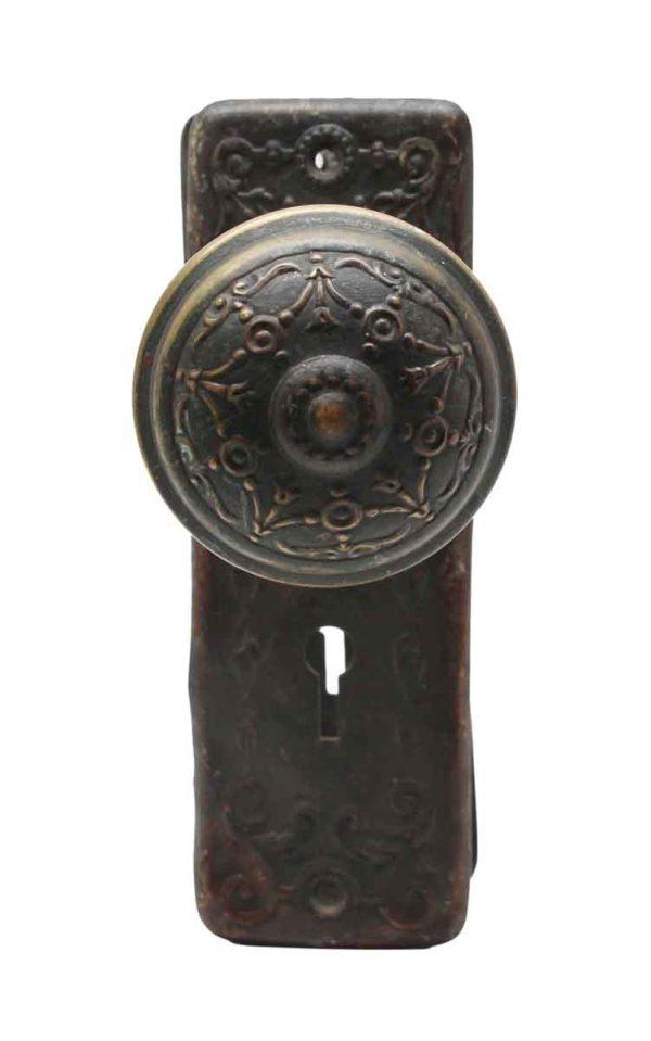 Door Knob Sets - Ornate Pressed Brass Doorknob Set