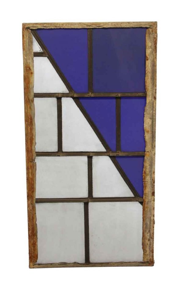 Exclusive Glass - Robert Sowers Dark Blue & White JFK Leaded Glass Window