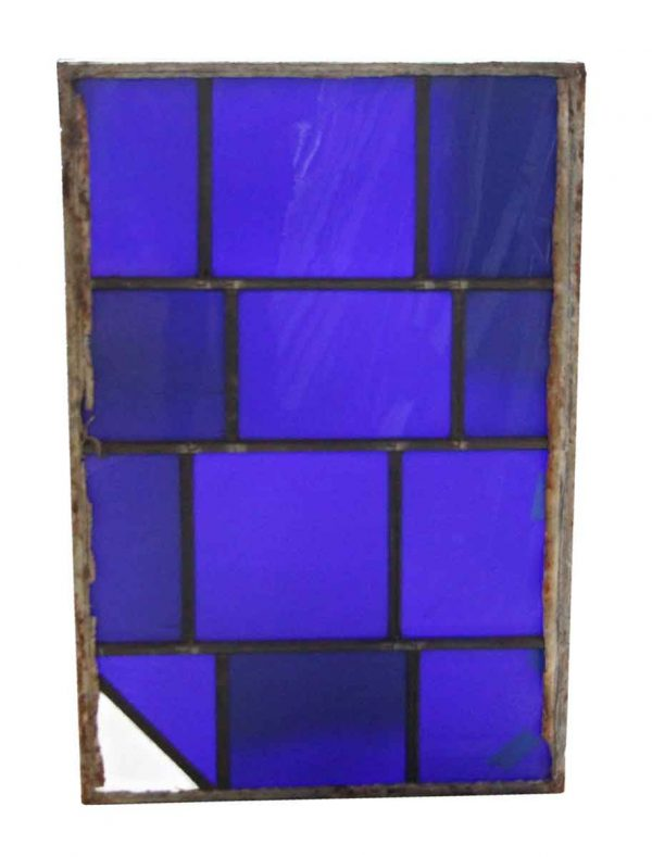 Exclusive Glass - Robert Sowers Modern Art Dark Blue JFK Leaded Glass Window