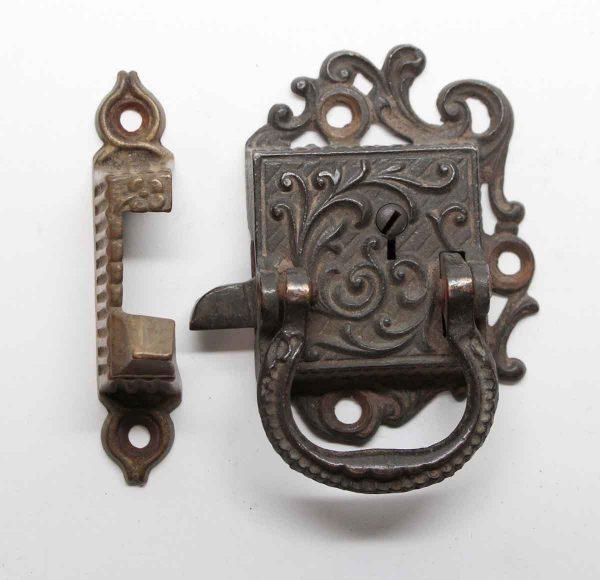 Ice Box Hardware - Antique Bronze Ornate Ice Box Latch