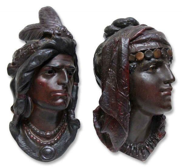 Other Wall Art  - Pair of 1904 Plaster Indian Head Wall Hangings