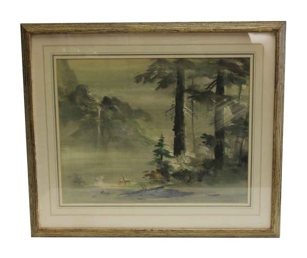 Paintings - Authentic Framed Imaginary Landscape No. II Painting from The Bambi Illustrator Tyrus Wong