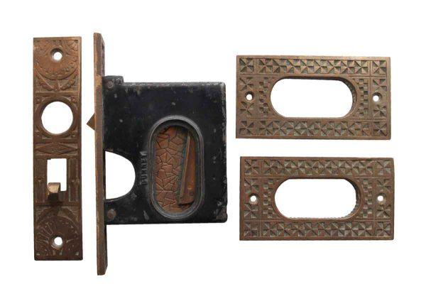 Pocket Door Hardware - Bronze Decorative Pocket Door Plate & Lock Set