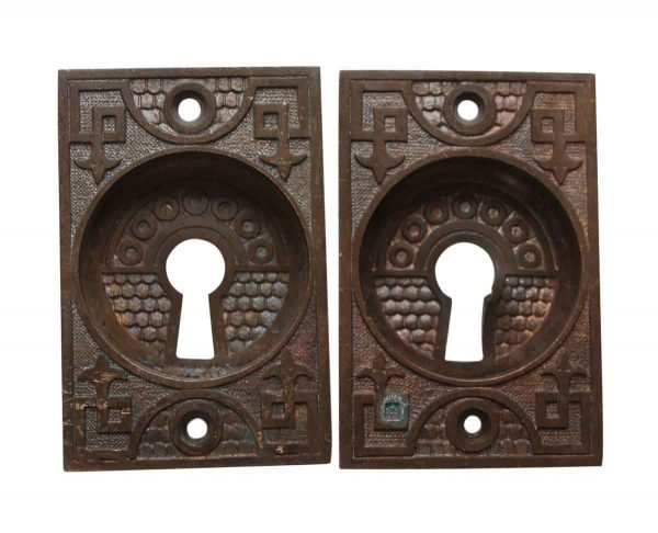 Pocket Door Hardware - Bronze Pair of Keyhole Pocket Door Pulls