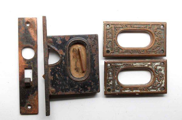 Pocket Door Hardware - Cast Iron Mortise Lock & Pocket Door Plate Set