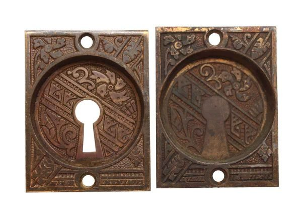 Pocket Door Hardware - Pair of Small Bronze Keyhole Pocket Plates