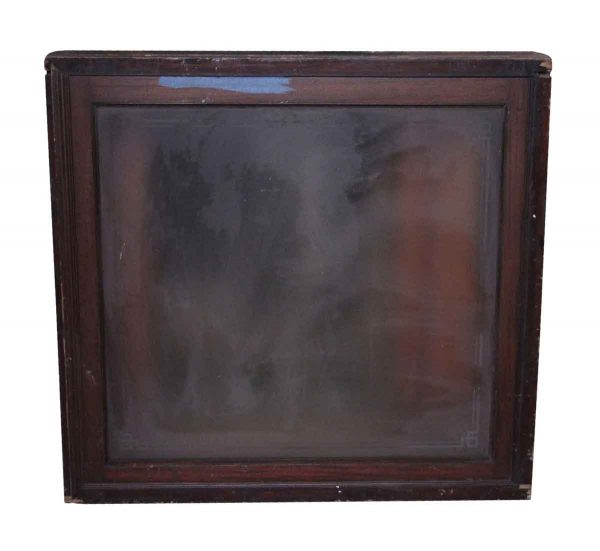 Reclaimed Windows - Wood Frame Glass Window with Etched Detail