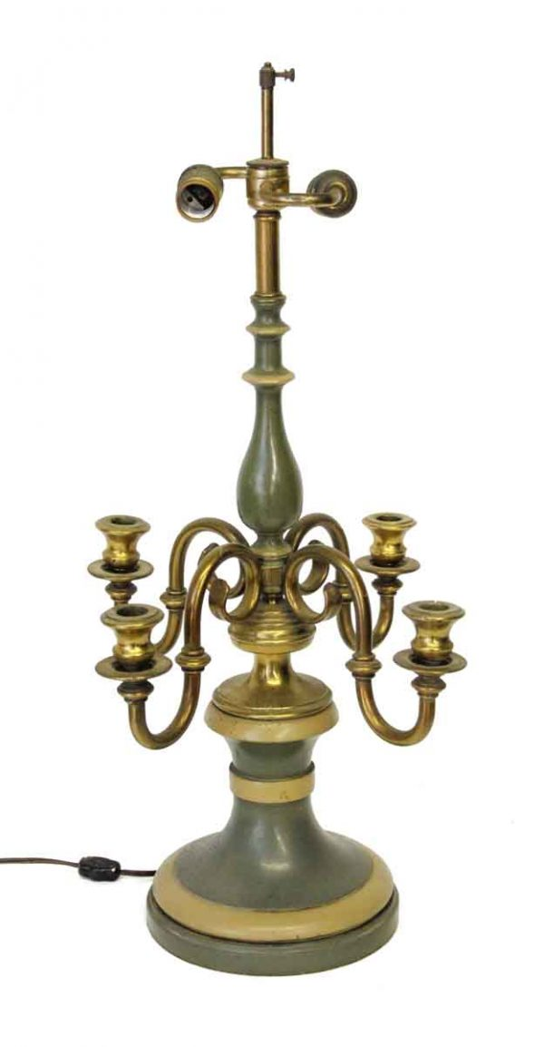 Table Lamps - Pair of Green Candelabra 6 Arm Lamps