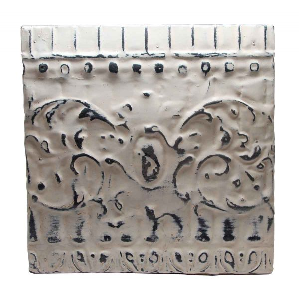 Tin Panels - White Antique Tin Panel with Decorative Design