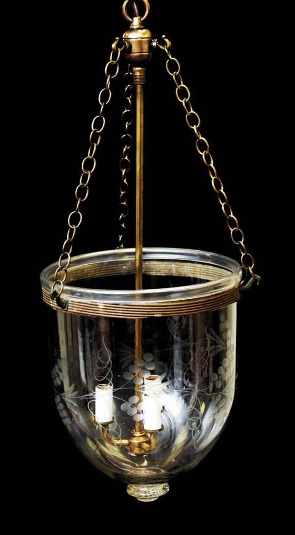 Up Lights - Vintage Etched Bell Jar Light with Brass Hardware