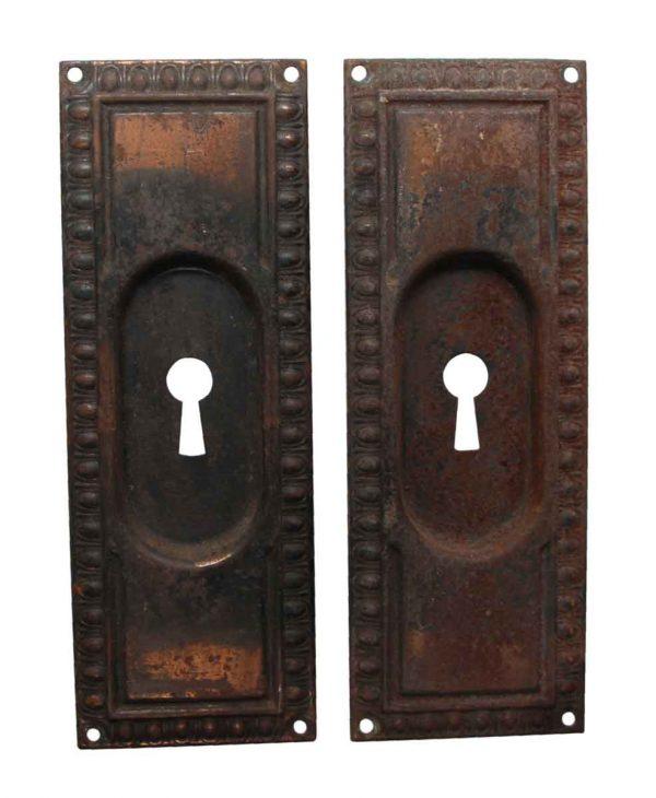 Pocket Door Hardware - Classic Pair of Steel Egg & Dart Pocket Door Plates
