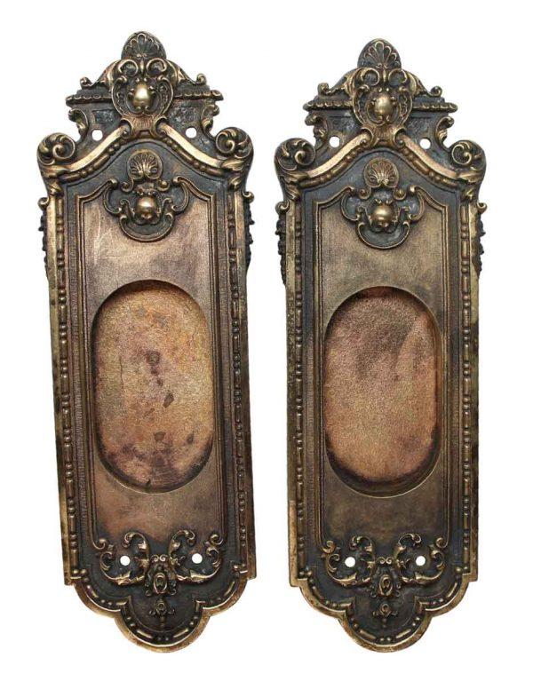 Pocket Door Hardware - Neoclassical Pair of Sargent Ornate Pocket Door Plates