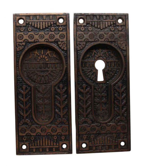 Pocket Door Hardware - Pair of Aesthetic Cast Iron Pocket Door Pull Plates