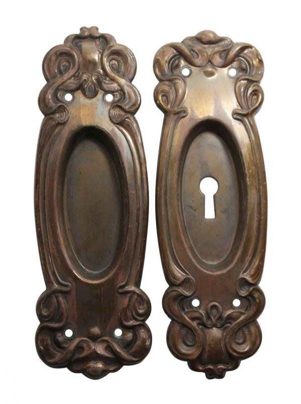 Pocket Door Hardware - Pair of Art Nouveau Brass Pocket Door Plates