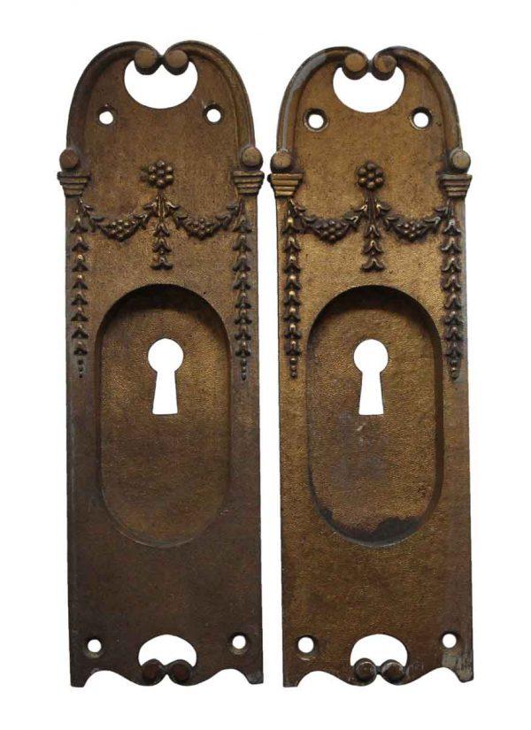 Pocket Door Hardware - Pair of Cast Brass Victorian Pocket Door Keyhole Plates