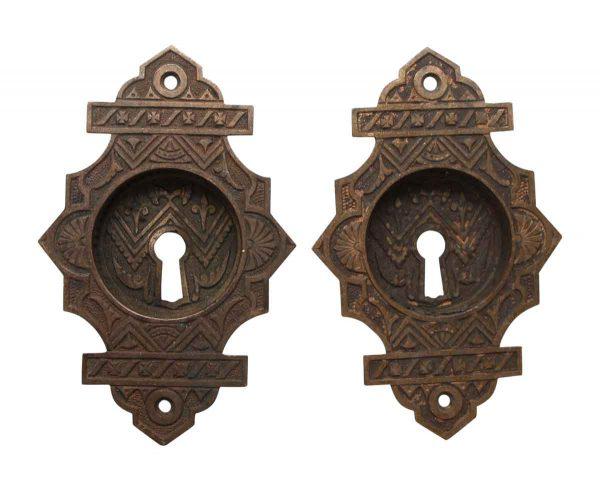 Pocket Door Hardware - Pair of Keyhole Ornate Bronze Pocket Door Pulls