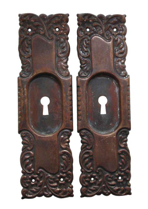 Pocket Door Hardware - Pair of Pressed Brass Roanoke Keyhole Pocket Door Plates