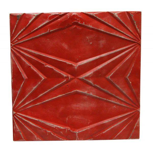 Tin Panels - Bright Red Art Deco Antique Tin Panel