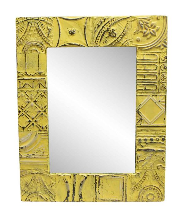Antique Tin Mirrors - Bright Yellow Mixed Pattern Antique Tin Mirror