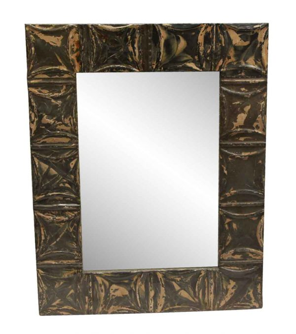 Antique Tin Mirrors - Brown & Tan Antique Square Pattern Tin Panel
