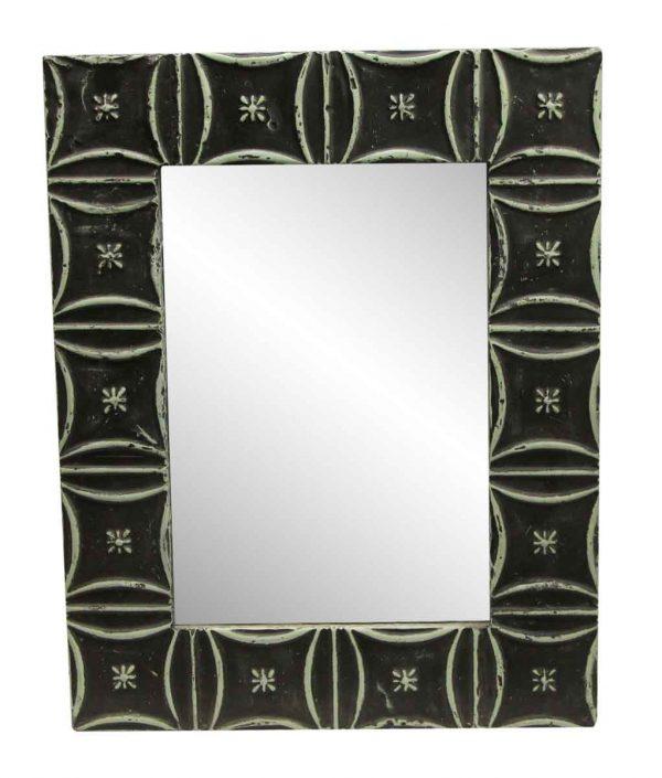 Antique Tin Mirrors - Green & Black Snowflake Antique Tin Mirror