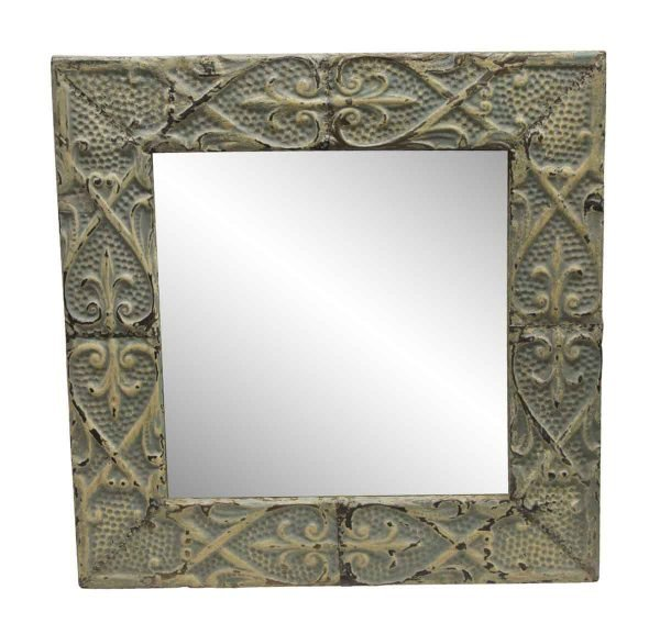 Antique Tin Mirrors - Heart Flower Pattern Antique Tin Panel Mirror
