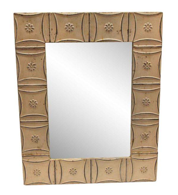 Antique Tin Mirrors - Light Pink Snowflake Antique Tin Mirror