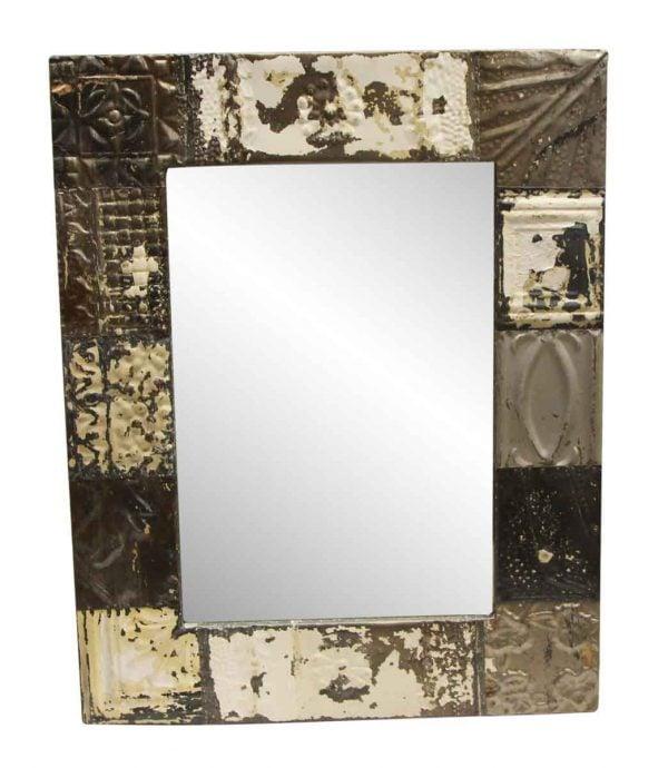 Antique Tin Mirrors - Mixed Pattern Gray & White Antique Tin Mirror
