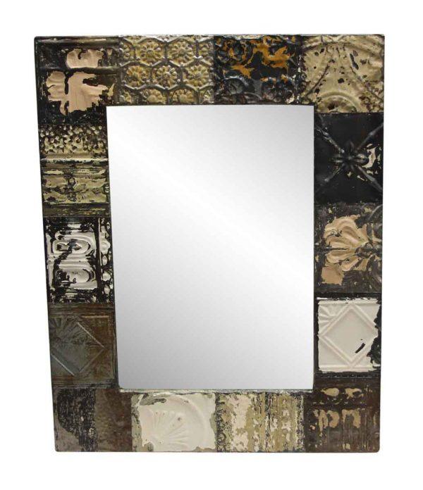 Antique Tin Mirrors - Mixed Pattern Neutral Tone Antique Tin Mirror