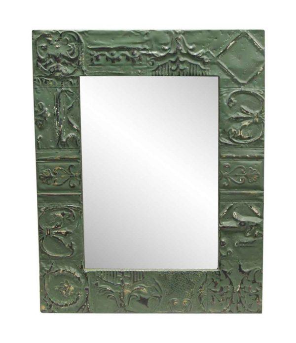 Antique Tin Mirrors - Moss Green Mixed Pattern Antique Tin Mirror