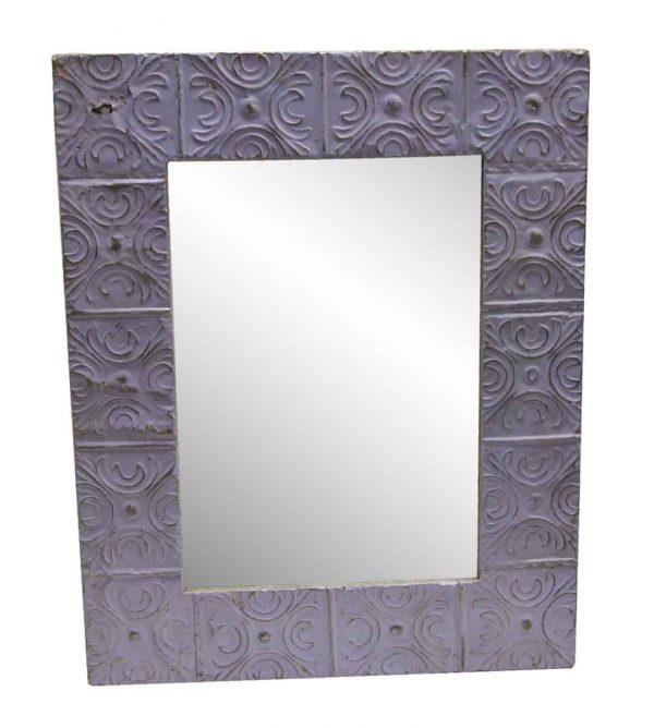 Antique Tin Mirrors - Purple Large Snowflake Antique Tin Mirror