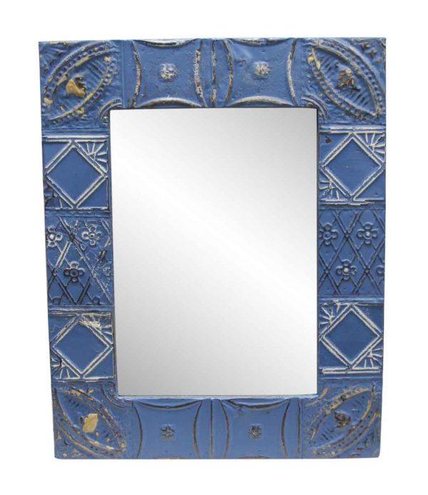 Antique Tin Mirrors - Royal Blue Antique Tin Mixed Pattern Mirror