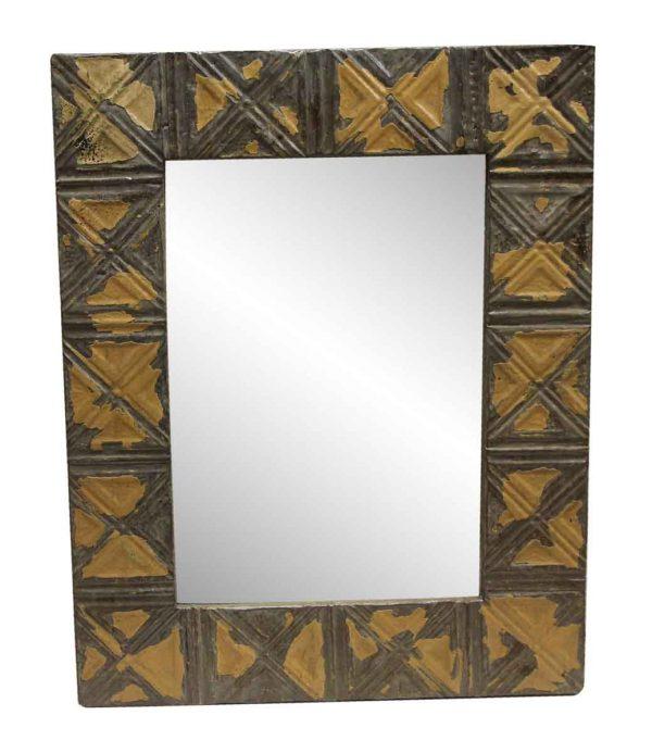 Antique Tin Mirrors - Tan & Brown Triangle & Dots Pattern Antique Tin Panel Mirror