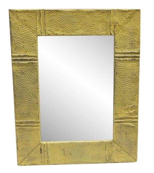 Antique Tin Mirrors - Yellow Pebbles Pattern Antique Tin Panel Mirror